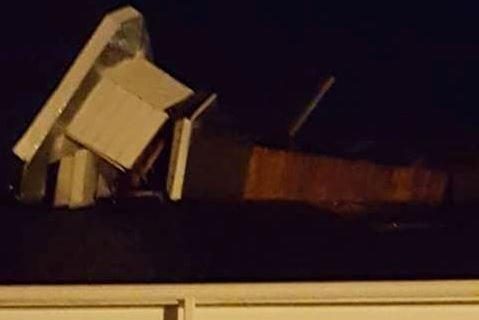 Photo of the overturned steeple (Courtesy: Dorothy White)