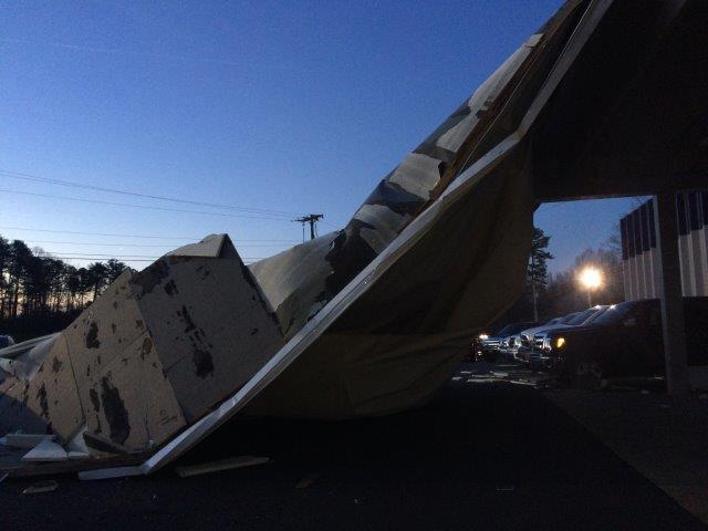 Damaged Ford dealership (FOX Carolina)