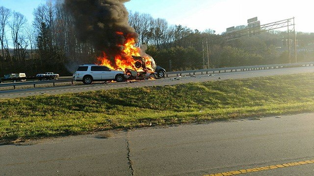 Scene of fiery crash along Western N.C. highway. (Source: iWitness)