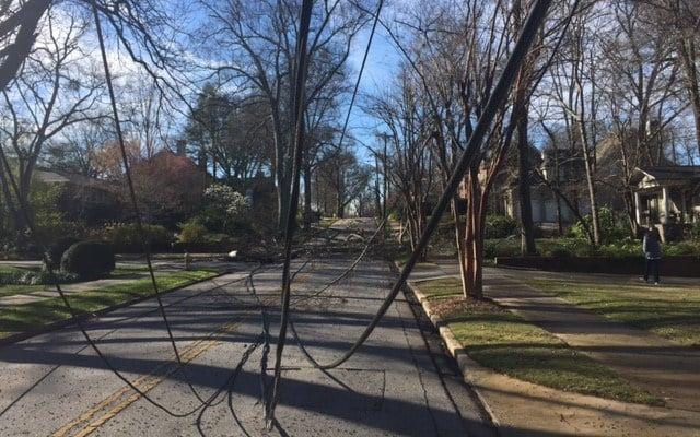 Power lines down in Greenville. (Mar. 2, 2017/FOX Carolina)