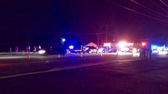 Scene of fatal crash involving vehicle and pedestrian in Greenville Co. (FOX Carolina/ 3/3/17)