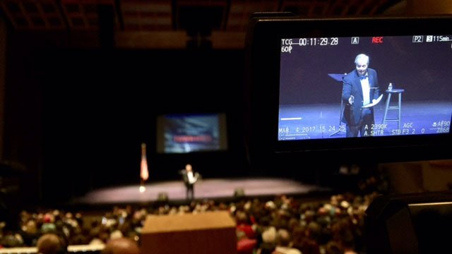 Town hall meeting at Clemson; Senator Lindsey Graham on stage. (March 4, 2017 FOX Carolina)