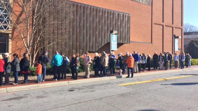 Line outside town hall. (March 4, 2017 FOX Carolina)