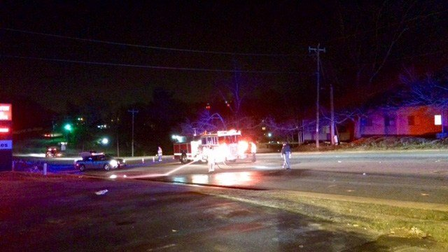 Scene of fatal pedestrian vs. vehicle crash in Greenville Co. (FOX Carolina/3/4/17)
