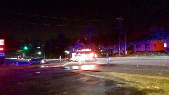 Scene of fatal pedestrian vs. vehicle crash in Greenville Co. (FOX Carolina/3/4/17)