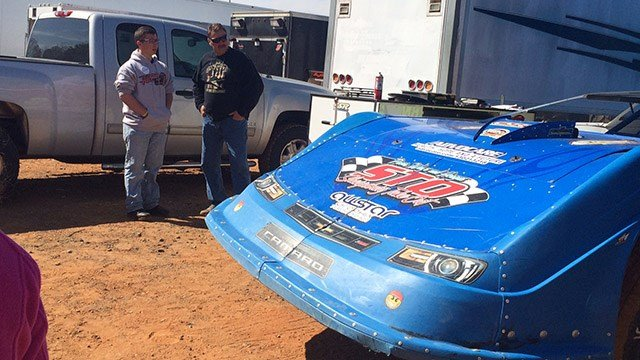 Patrick (left) at fundraiser at Cherokee Speedway. (March 5, 2017 FOX Carolina)