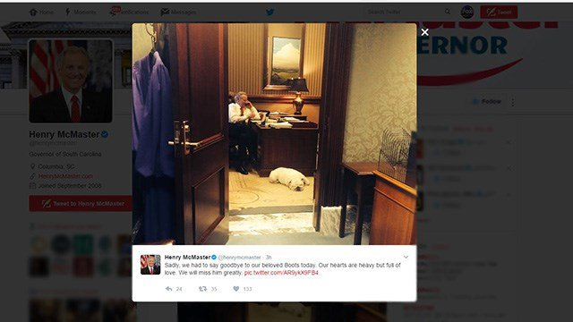 "Gov. Henry McMaster says goodbye to beloved dog ""Boots"" (Source: Twitter)"