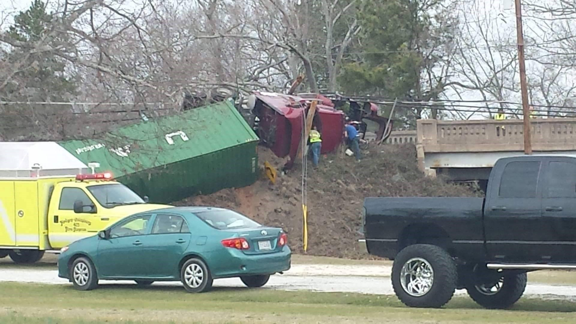 Overturned tractor-trailer in Hodges (Source: Larry Honicutt)