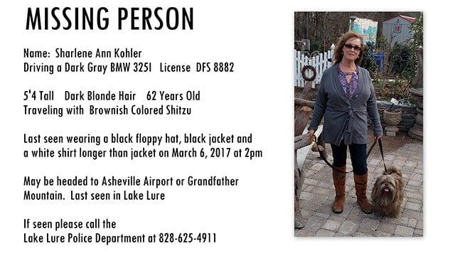 Sharlene Ann Kohler (Source: Lake Lure Police)