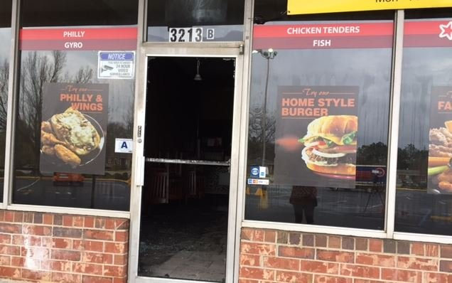 The fire damaged the interior of American Deli (FOX Carolina/ March 7, 2017)