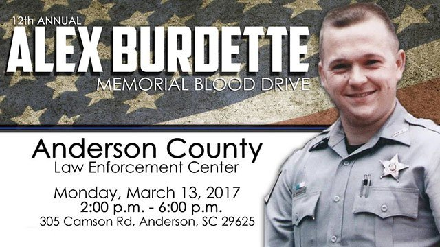 12th Annual Alex Burdette Memorial Blood Drive (Source: Anderson Co. Sheriff's Office)