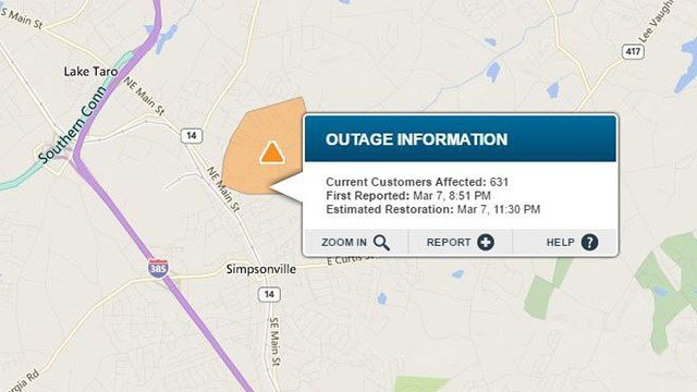 Over 630 Duke Energy customers without power in Simpsonville. (Source: Duke Energy Outage Map)