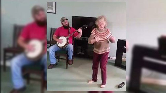 """Ms. Dorothy dancing to """"Foggy Mountain Breakdown"""" (Source: Facebook)"""