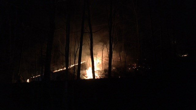 Brush fire in Buncombe County. (FOX Carolina/ 3/8/17)