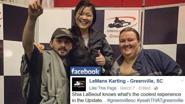 Shia LaBeouf with LeMans Karting employees (Courtesy: LeMans Karting/ Facebook)