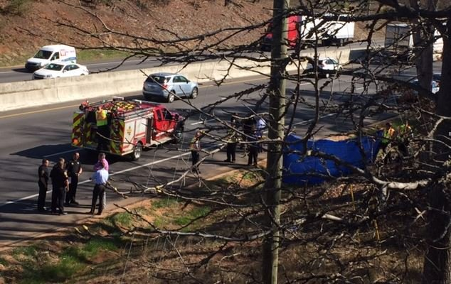 Scene of the crash on I-85 North (March 9, 2017/ FOX Carolina)