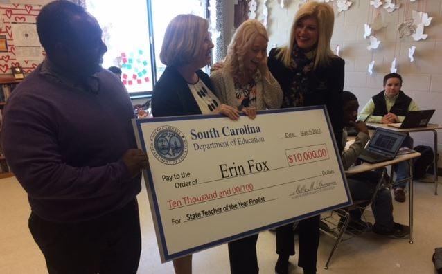 English teacher Erin Fox as a finalist for the Teacher of the Year Award (March 9, 2017/ FOX Carolina)