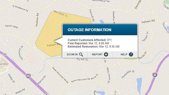 Power outage in Greenville Co. (Source: Duke Energy Outage Map)