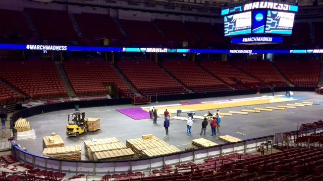 Court being installed at Bon Secours Wellness Arena. (March 12, 2017 FOX Carolina)