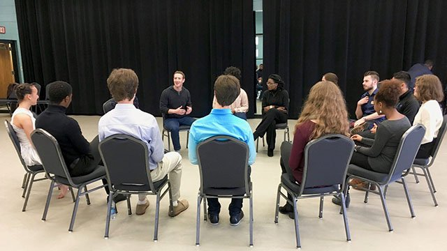 Mark Zuckerburg visits S.C. Governor's School for the Arts and Humanities. (Source: SCGSAH Facebook)