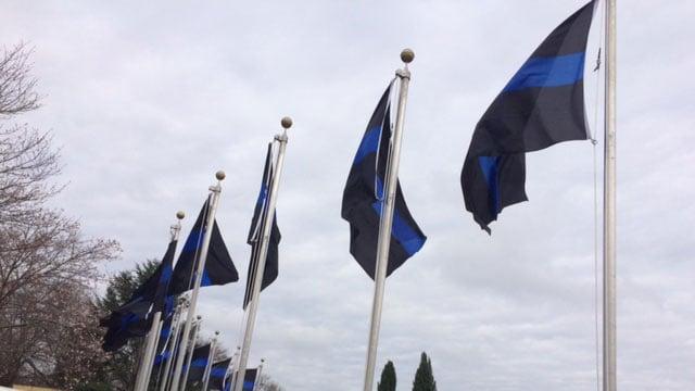 Bob Jones University flies Thin Blue Line flags to honor law enforcement (Mar. 13, 2017/FOX Carolina)