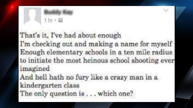 Screen shot of the threat police say was posted (Source: Facebook)