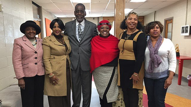 Thandi Tutu-Gxashe with board members at Quest Leadership Academy. (March 14 , 2017 FOX Carolina)