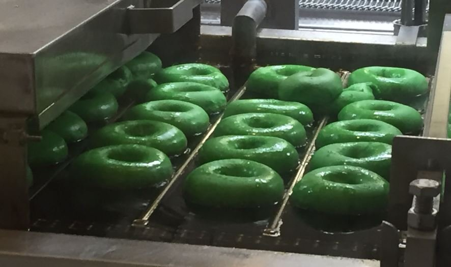 Green doughnuts at Krispy Kreme (FOX Carolina/ March 17, 2017)