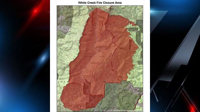 White Creek Fire Closure Area (Source: U.S. Forest Service Facebook)