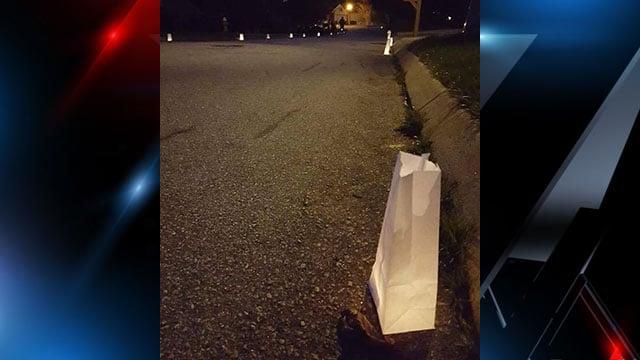 Luminaries line the street of John Anthony Robb II's neighborhood in his honor. (FOX Carolina/ 3/17/17)