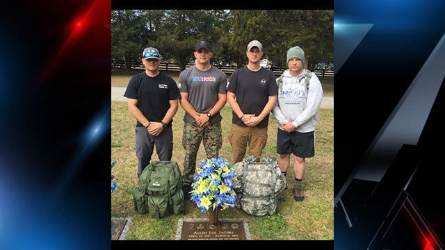 "Greenville SWAT run 12 miles in ""Operation Honor Ruck 2017"" in honor of Officer Allen Jacobs on the anniversary of his death. (Source: Greenvillle Police Department Facebook)"