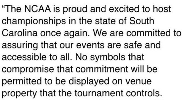 Response from NCAA on flying of confederate flag. (Source: Twitter)