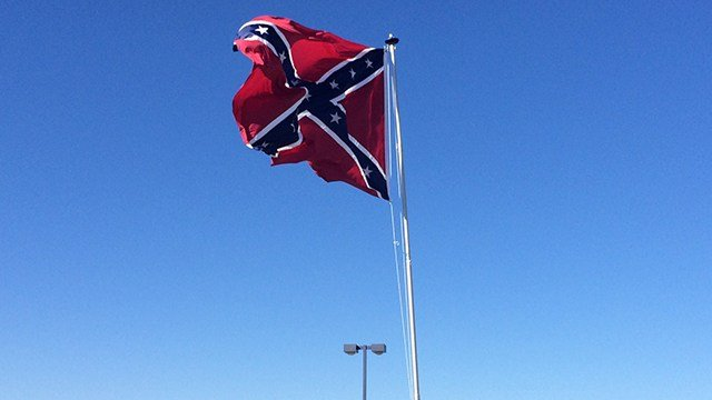 Confederate flag being flown in downtown Greenville. (March 19, 2017 FOX Carolina)