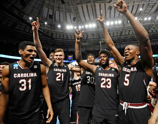 The Gamecocks clinched an upset victory in round two. (AP Photo/Rainier Ehrhardt)