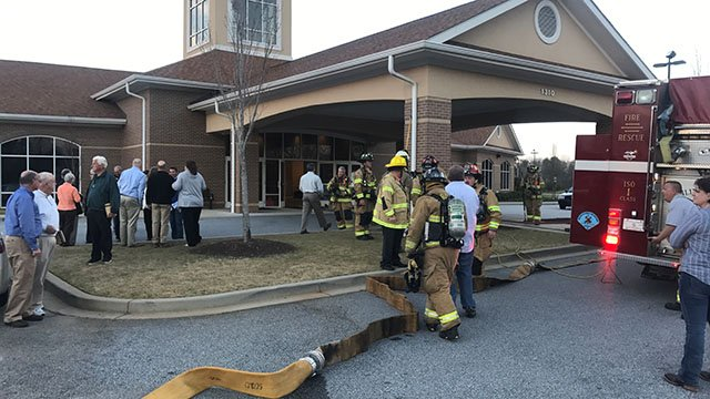 Crews battle fire started by bathroom fans at Covenant United Methodist Church in Greenville. (FOX Carolina/ 3/23/17)