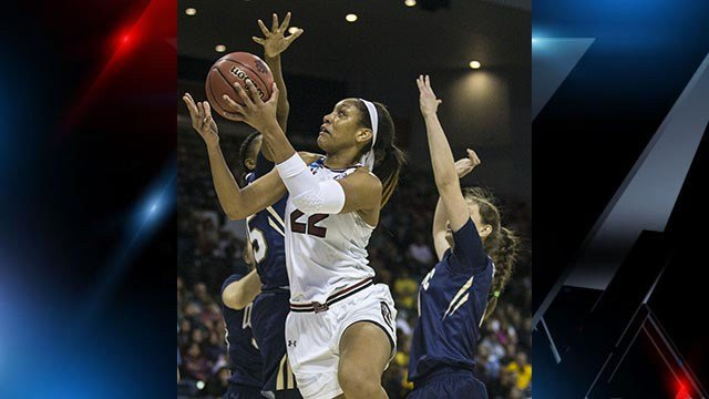 Kaela Davis, A'ja Wilson and top-seeded South Carolina defeated NCAA Tournament surprise Quinnipiac from the opening tip, scoring the first 16 points and advancing to the Stockton Regional final by beating the 12th-seeded Bobcats 100-58 on Saturday (AP)