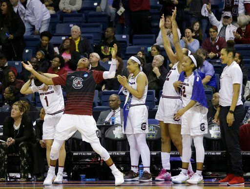 South Carolina women's basketball celebrates blowout of Quinnipiac (Soruce: Associated Press)