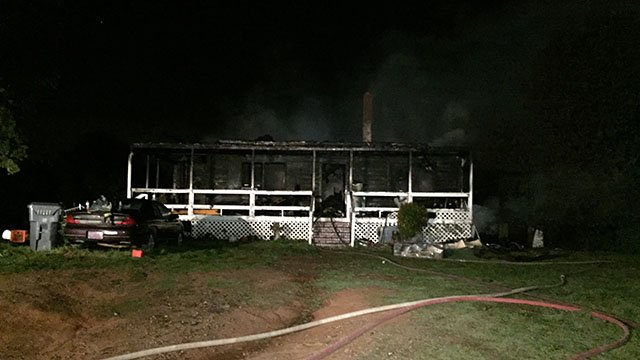 Scene of Ferguson Road house fire. (FOX Carolina/ 3/27/17)