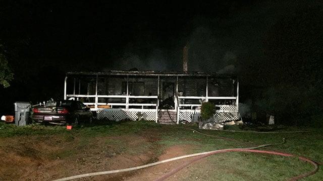 Scene of Ferguson Road house fire. (FOX Carolina/ 3/27/17)