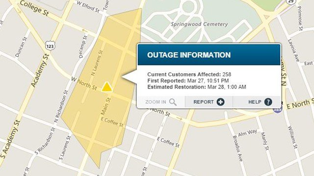 Power outage in downtown Greenville. (Source: Duke Energy Outage Map)
