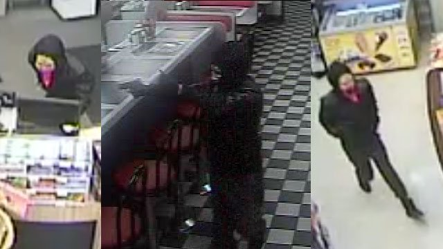 Surveillance images of the suspect from the 3 locations (Courtesy: SCSO)
