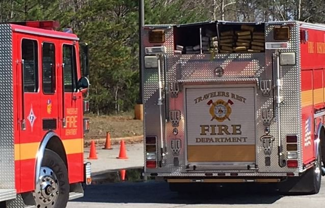 Fire trucks on the scene of an explosion in TR (FOX Carolina)