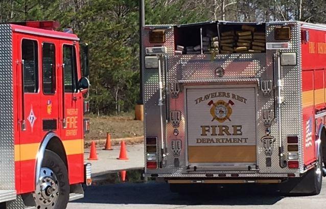 Fire trucks on the scene of an explosion in TR (FOX Carolina)