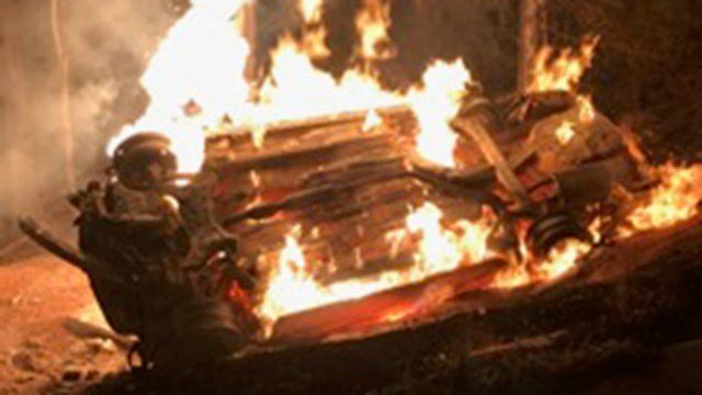Fire burns chase vehicle (Source: Coronaca Fire Dept.)