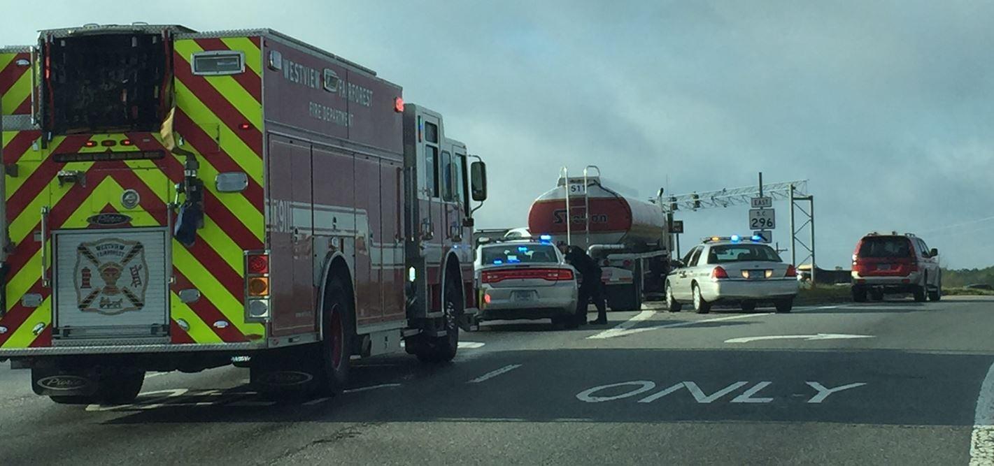 Scene of the crash on the I-26 exit ramp (FOX Carolina/ March 31, 2017)