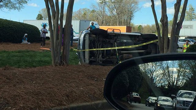 Overturned car on Southchase Boulevard (Source: Tiffany Davis)