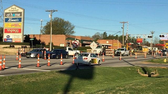 Woodruff Road Gateway Project construction. (April 1, 2017 FOX Carolina)
