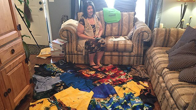 Hawaiian shirt donations to be rolled and shipped to soldiers. (April 1, 2017 FOX Carolina)