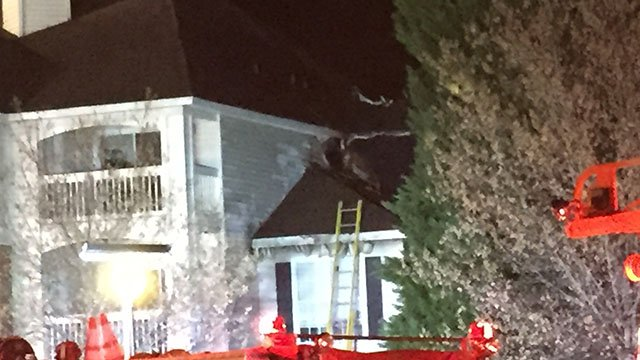Damage to apartment after fire off Pelham Road. (FOX Carolina/ 4/2/17)