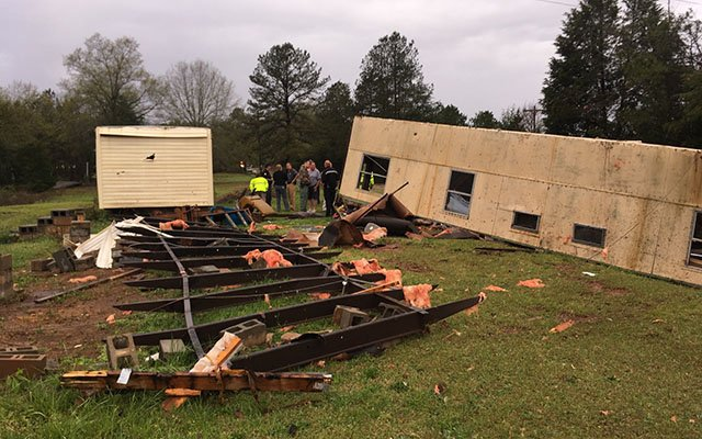 Flipped mobile home on Eaves Road (Source: Sheriff Taylor)